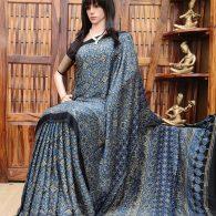 Aaditri - Ajrakh Modal Silk Saree