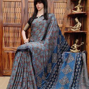 Aakarsha - Ajrakh Modal Silk Saree