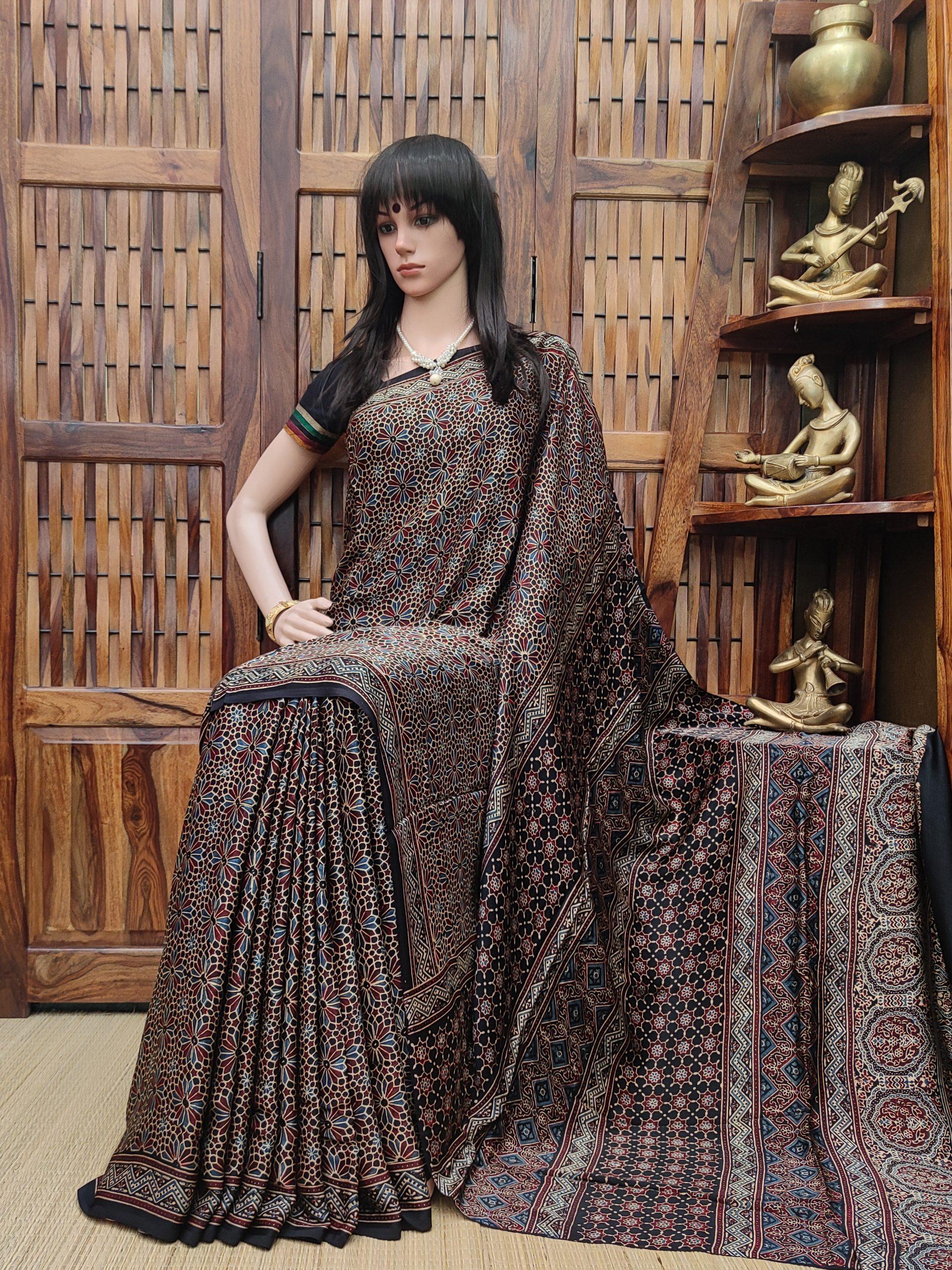 Aanadhitha - Ajrakh Modal Silk Saree