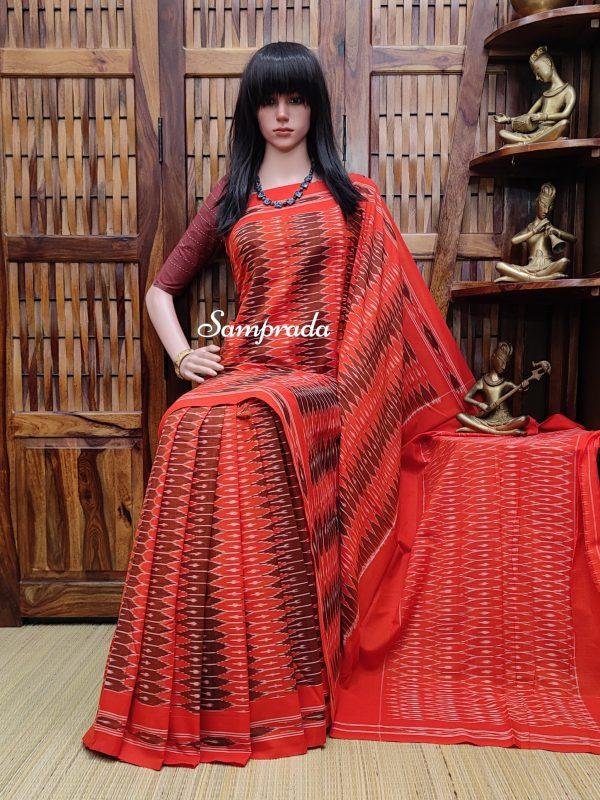 Balamani - Ikkat Cotton Saree without Blouse