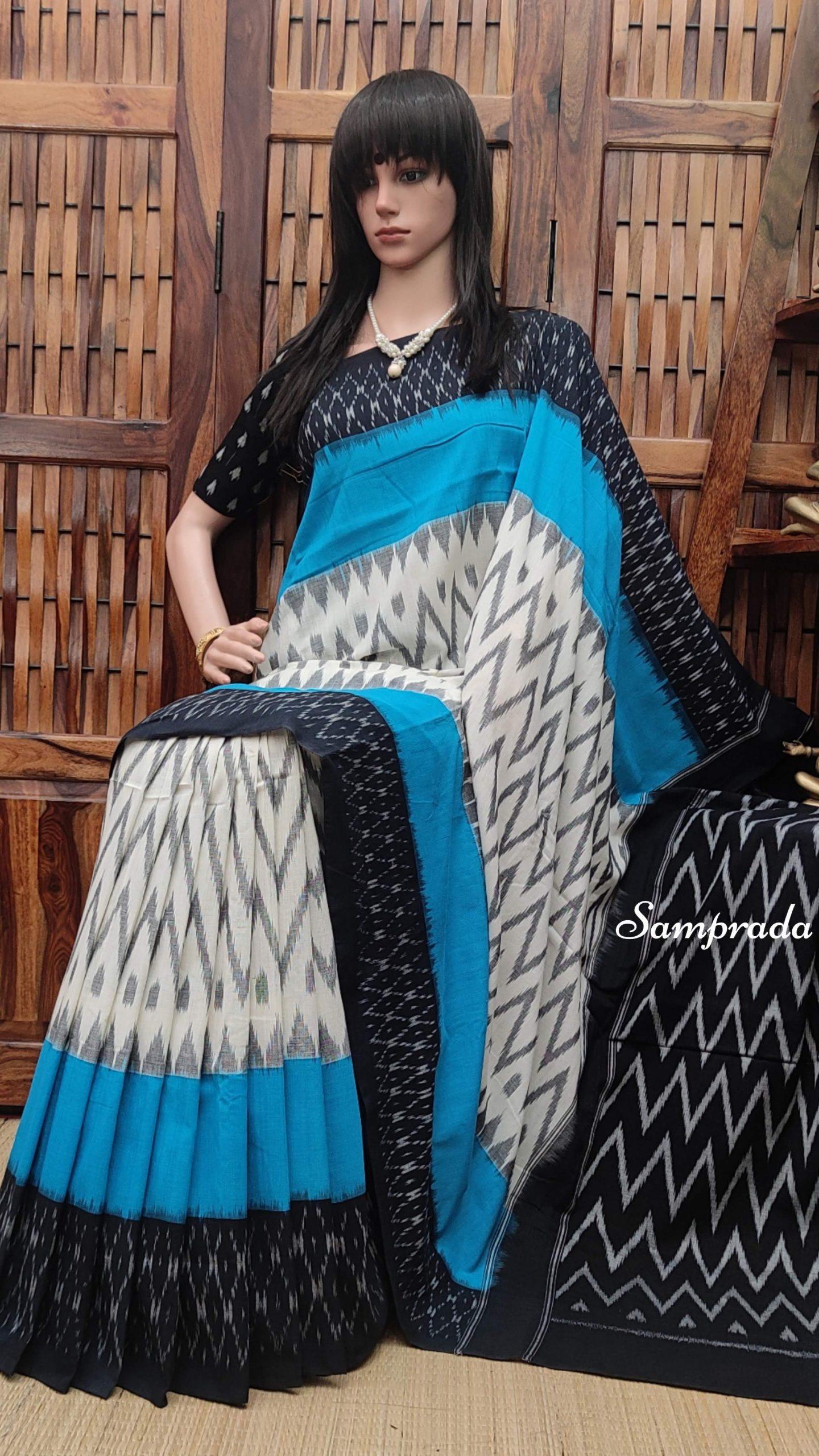 Bhaamini - Ikkat Cotton Saree without Blouse