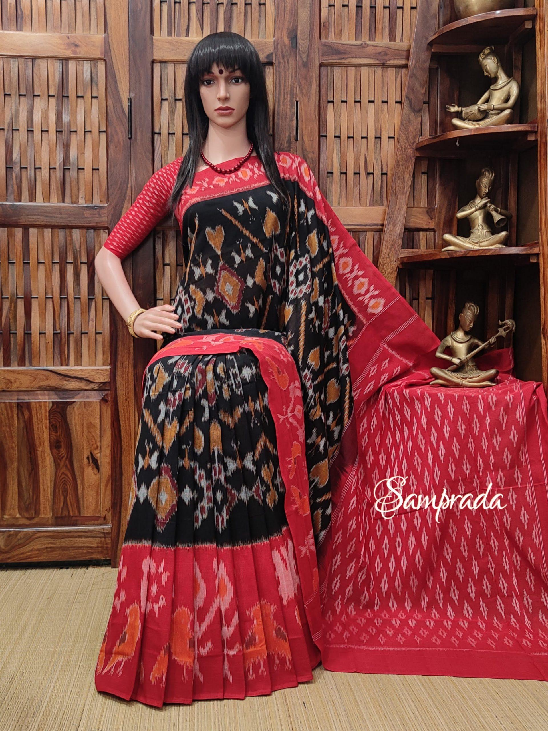 Bhadrika - Ikkat Cotton Saree without Blouse