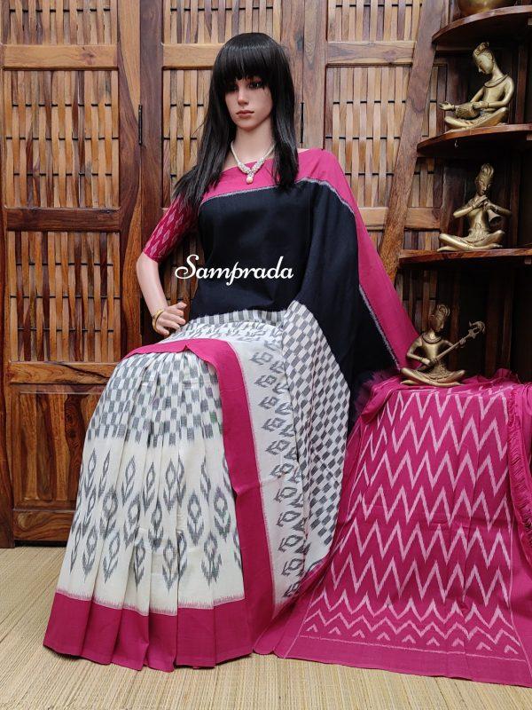 Bhagyashree - Ikkat Cotton Saree without Blouse