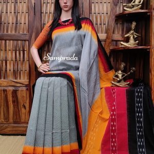 Bhanmati - Ikkat Cotton Saree without Blouse
