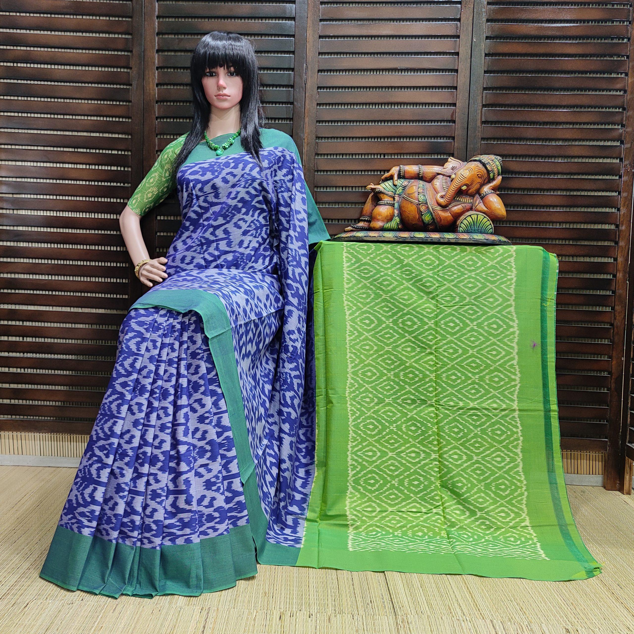 Bhavapriya - Ikkat Cotton Saree without Blouse
