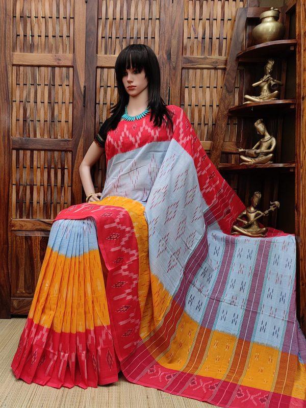 Bihaara - Ikkat Cotton Saree without Blouse
