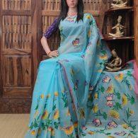 Hemaprabha - Hand Painted Organdi Cotton Saree