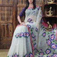 Hemasaranga - Hand Painted Organdi Cotton Saree