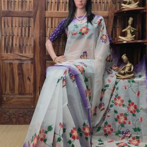 Hemkanta - Hand Painted Organdi Cotton Saree