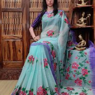Himabindu - Hand Painted Organdi Cotton Saree
