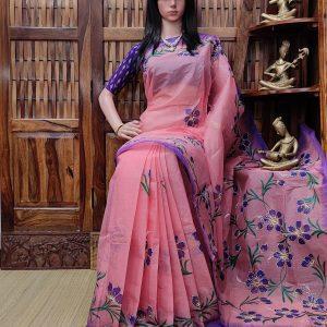 Himarashmi - Hand Painted Organdi Cotton Saree