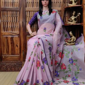 Hiranmayi - Hand Painted Organdi Cotton Saree