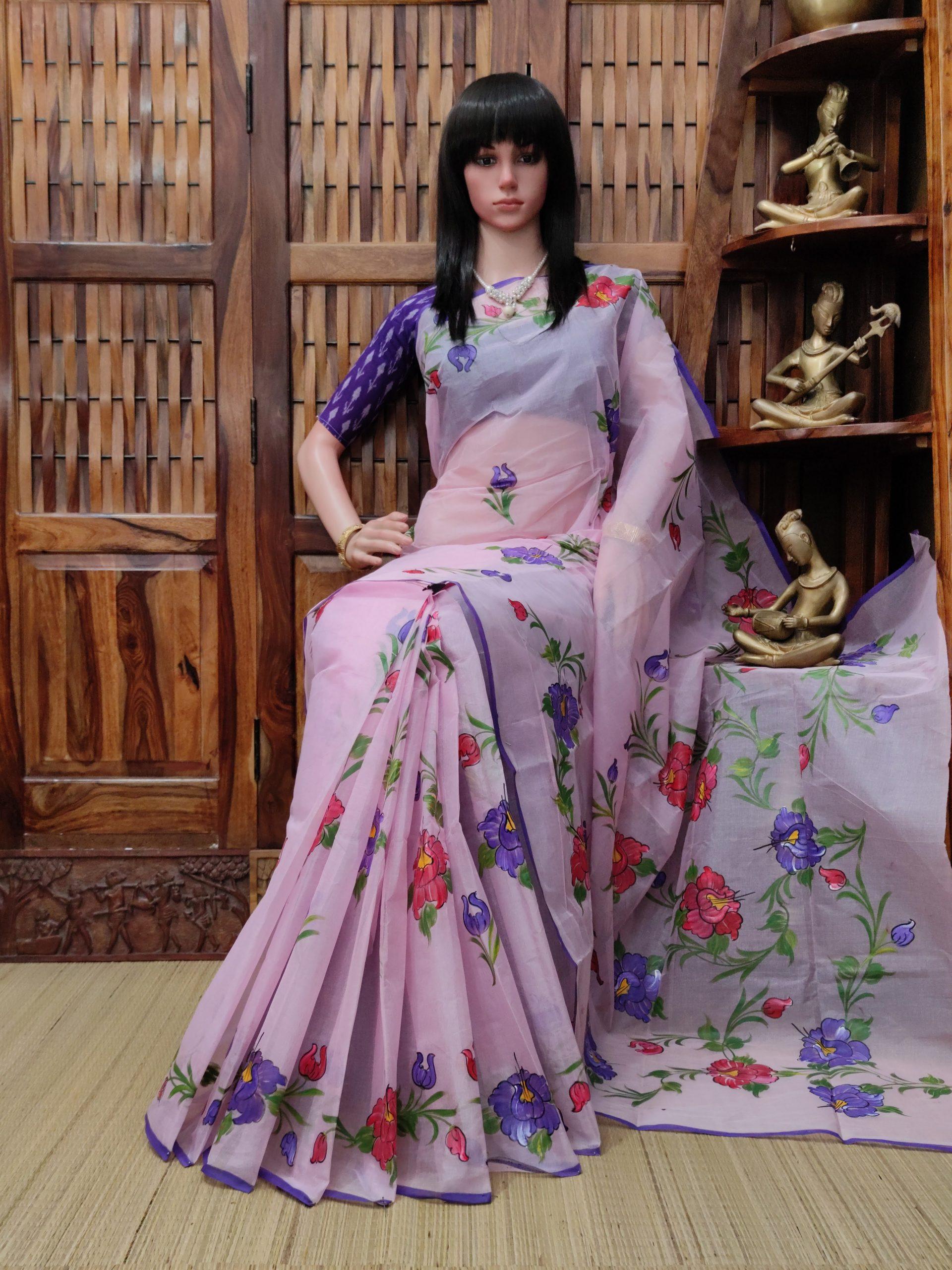 Hiranmayi - Hand Painted Organdi Cotton Saree