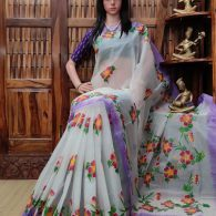 Hiranya - Hand Painted Organdi Cotton Saree