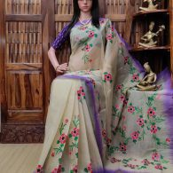 Hreemkari - Hand Painted Organdi Cotton Saree