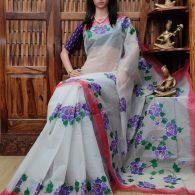 Hridya - Hand Painted Organdi Cotton Saree
