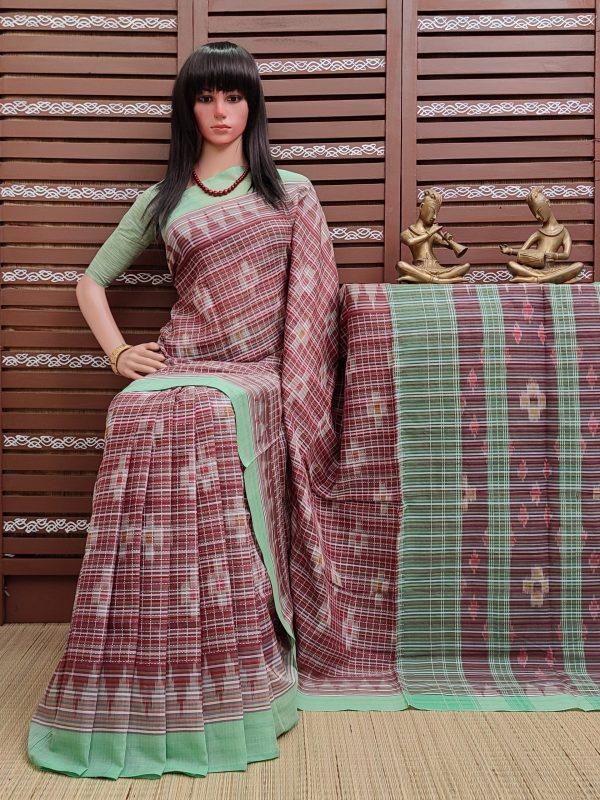 Kanjira - Ikkat Mutyam Gadi Cotton Saree