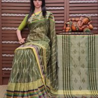 Karisha - Ikkat Mutyam Gadi Cotton Saree