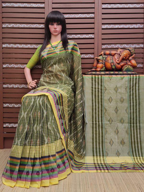 Karisha - Ikkat Mutyam Gadi Cotton Saree
