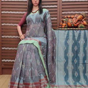 kavayah - Ikkat Mutyam Gadi Cotton Saree