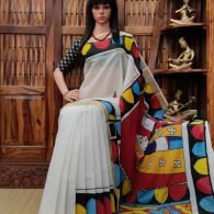Valini - West Bengal Painted Cotton Saree