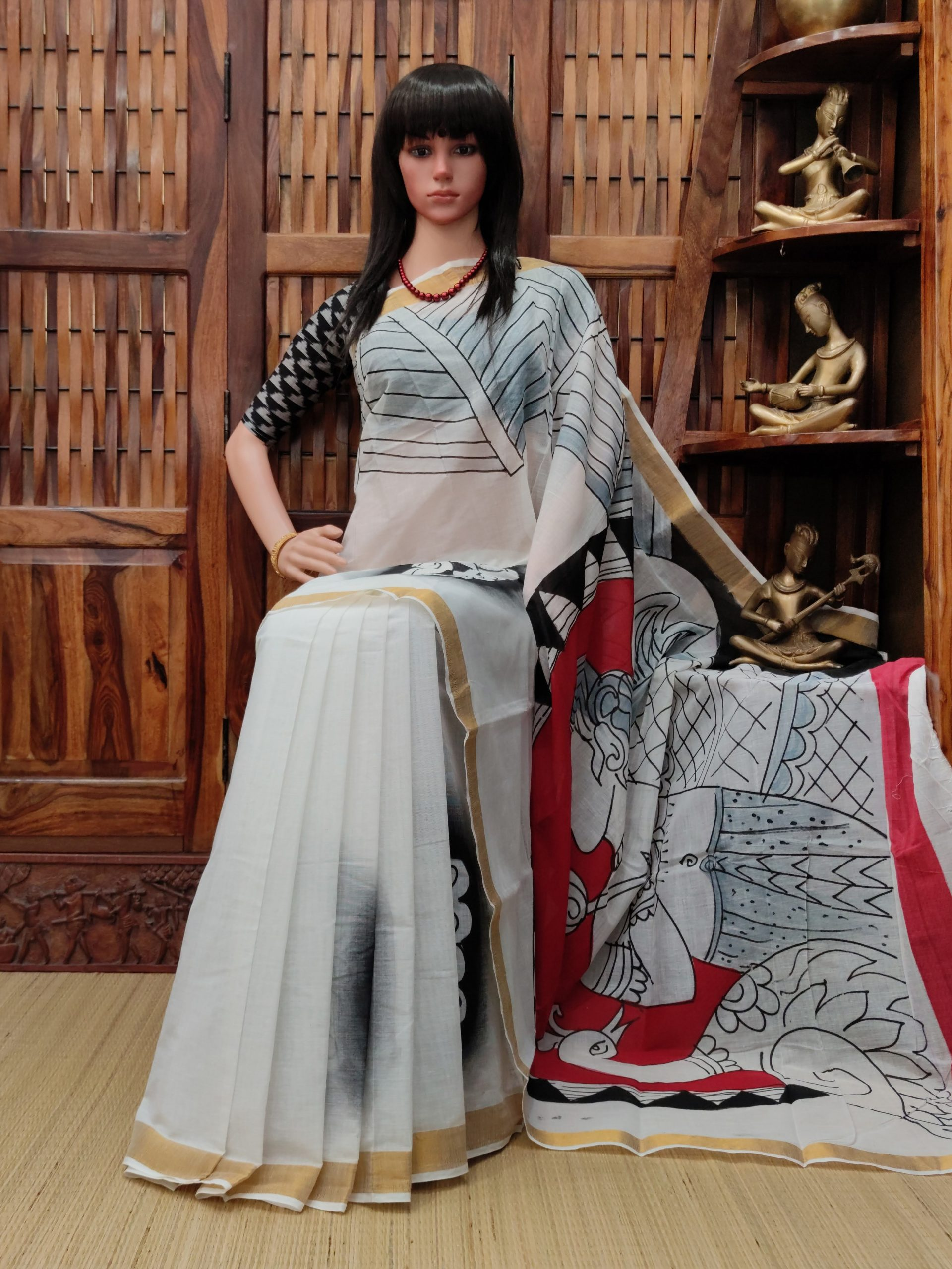 Vallabhi - West Bengal Painted Cotton Saree