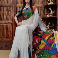Vamsee - West Bengal Painted Cotton Saree